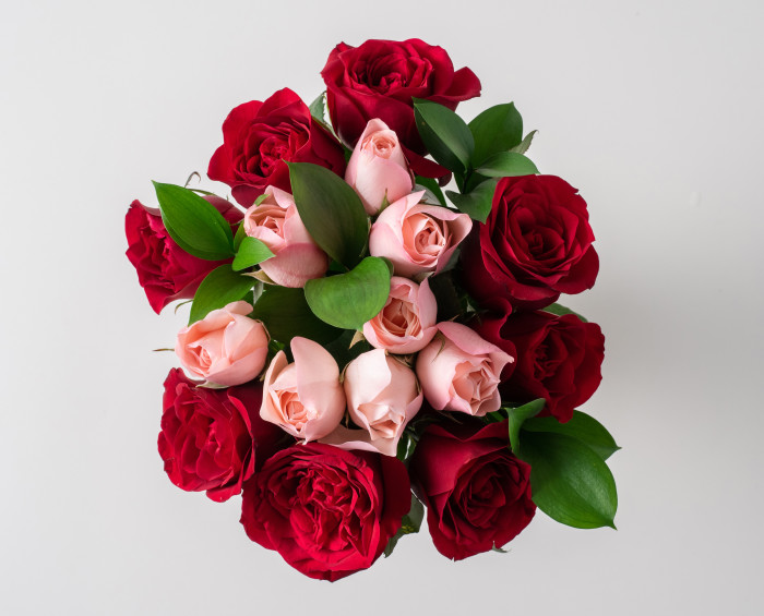 Buquê com 15 Rosas de duas Cores
