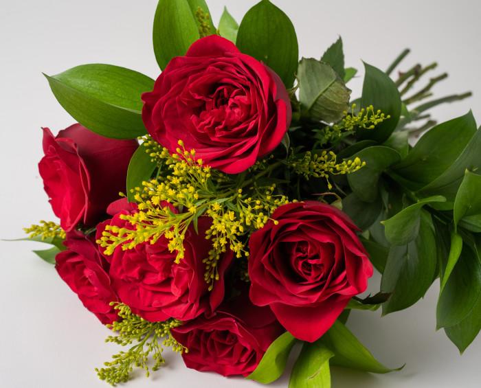 Buquê de 6 Rosas Vermelhas e Pelúcia