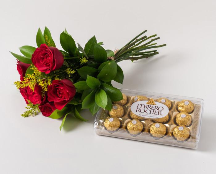 Buquê de 6 Rosas Vermelhas e Chocolates