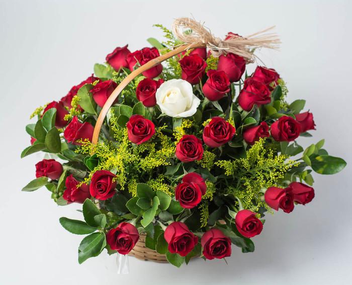 Cesta com 39 Rosas Vermelhas e 1 Rosa Solitária de Outra Cor