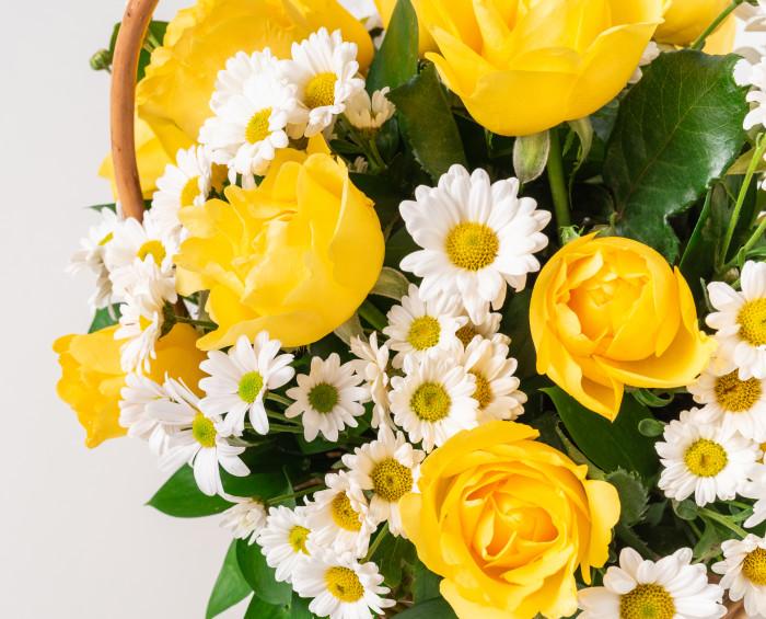 Cesta com Rosas e Margaridas Amarelas e Brancas