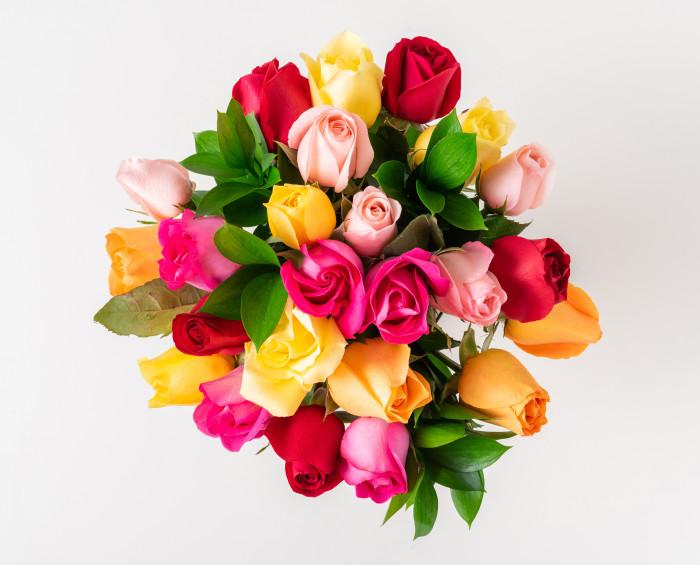Buquê de 24 Rosas Coloridas, Chocolate, Pelúcia e Vinho Tinto